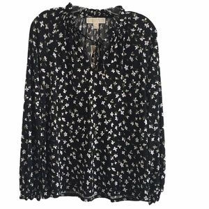 Michael Kors Floral Lilly Ruffle Neck Blouse